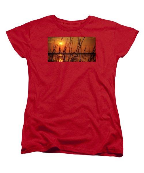 Golden Sunset At The Lake Women's T-Shirt (Standard Cut) by John Williams