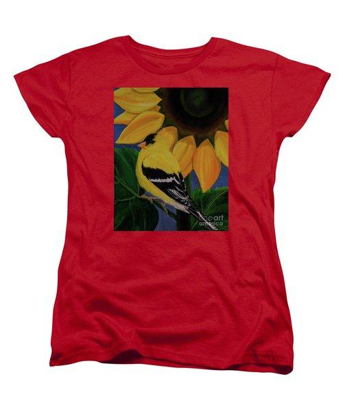 Goldfinch And Sunflower Women's T-Shirt (Standard Cut) by Jane Axman
