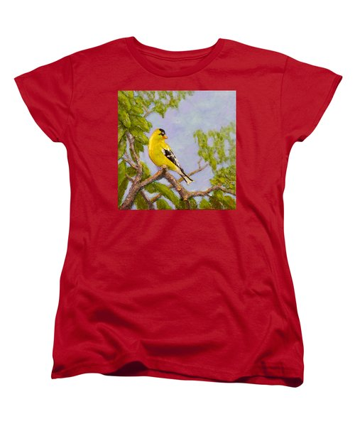 Women's T-Shirt (Standard Cut) featuring the painting Goldfinch by Joe Bergholm