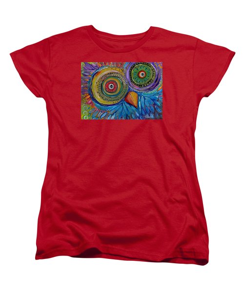Women's T-Shirt (Standard Cut) featuring the painting Googly-eyed Owl by Tanielle Childers