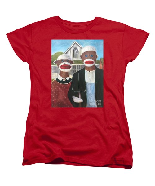 Women's T-Shirt (Standard Cut) featuring the painting Gothic American Sock Monkeys by Randol Burns