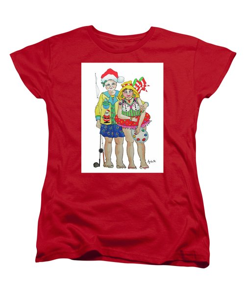 Women's T-Shirt (Standard Cut) featuring the painting Gram - Cracker And Papa by Rosemary Aubut