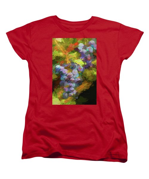 Grapes In Abstract Women's T-Shirt (Standard Cut) by Penny Lisowski