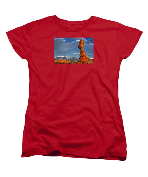 Gravity Defying Balanced Rock, Arches National Park, Utah Women's T-Shirt (Standard Cut) by Sam Antonio Photography