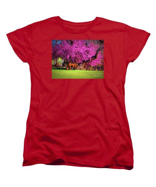 Grazing Horse  ... Women's T-Shirt (Standard Cut) by Chuck Caramella