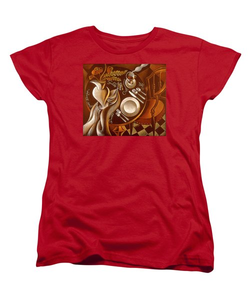 Women's T-Shirt (Standard Cut) featuring the painting Great Dining by Leon Zernitsky