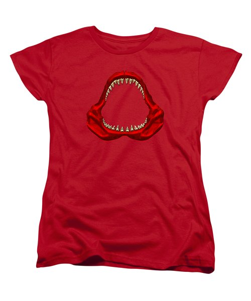 Great White Shark - Red Jaws With Gold Teeth On Red Canvas Women's T-Shirt (Standard Cut)