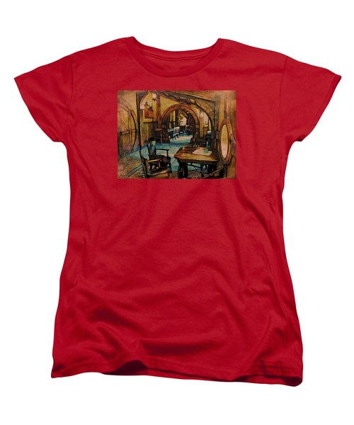 Women's T-Shirt (Standard Cut) featuring the digital art Green Dragon Writing Nook by Kathy Kelly