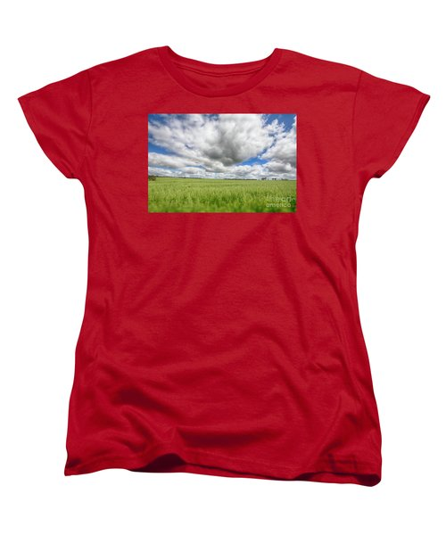 Women's T-Shirt (Standard Cut) featuring the photograph Green Fields 2 by Douglas Barnard