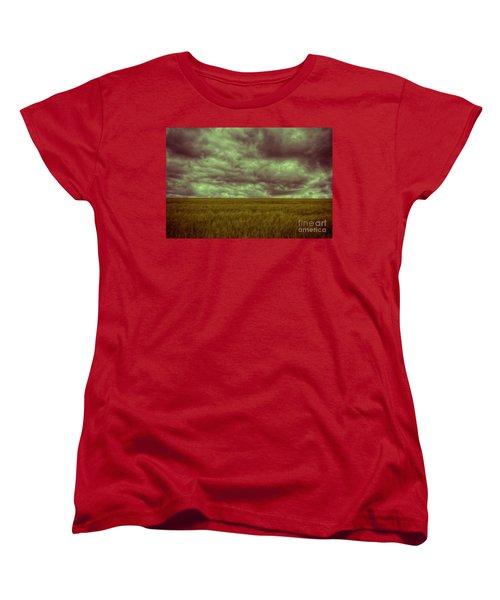 Women's T-Shirt (Standard Cut) featuring the photograph Green Fields 3 by Douglas Barnard