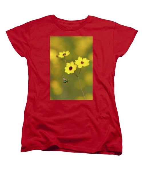 Green Metallic Bee Women's T-Shirt (Standard Cut) by Paul Rebmann