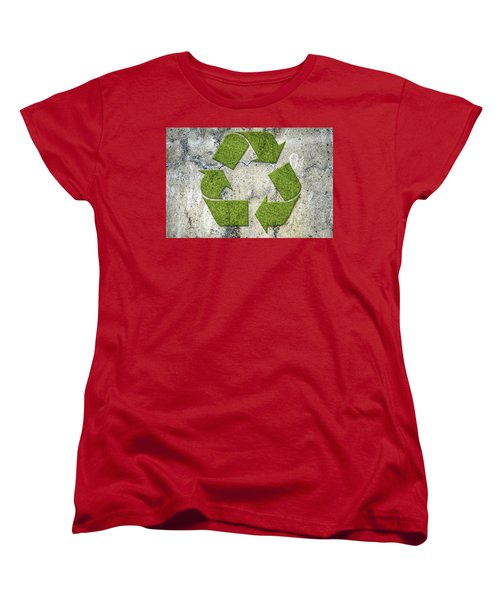 Green Recycling Sign On A Concrete Wall Women's T-Shirt (Standard Cut) by GoodMood Art
