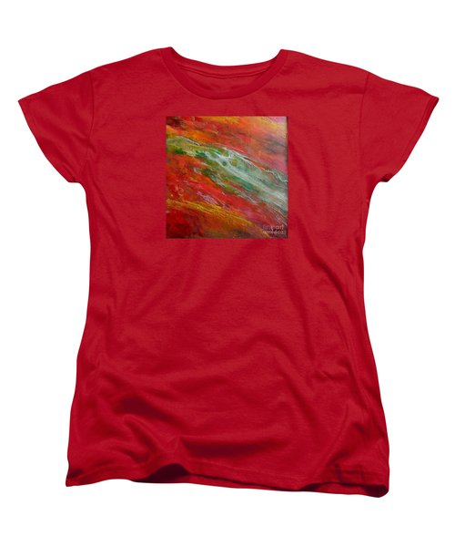 Women's T-Shirt (Standard Cut) featuring the painting Green River by Dragica  Micki Fortuna