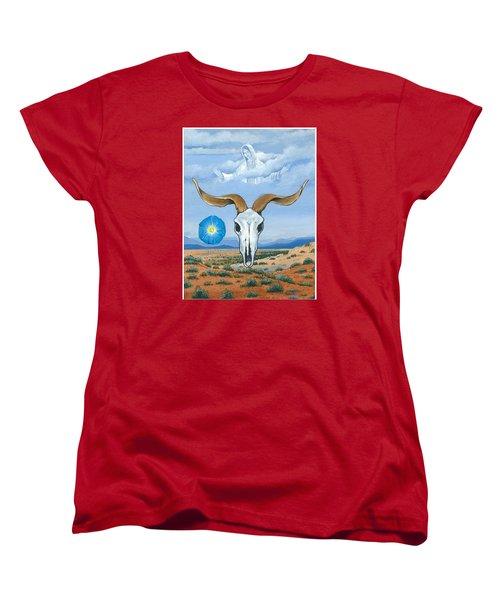 Guadalupe Visits Georgia O'keeffe Women's T-Shirt (Standard Cut) by James Roderick