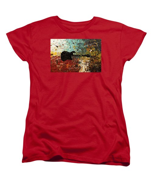 Women's T-Shirt (Standard Cut) featuring the painting Guitar Story by Carmen Guedez