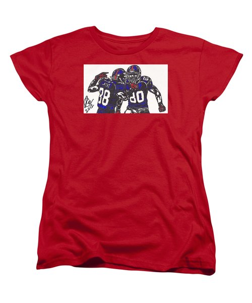 Hakeem Nicks And Victor Cruz Women's T-Shirt (Standard Cut) by Jeremiah Colley