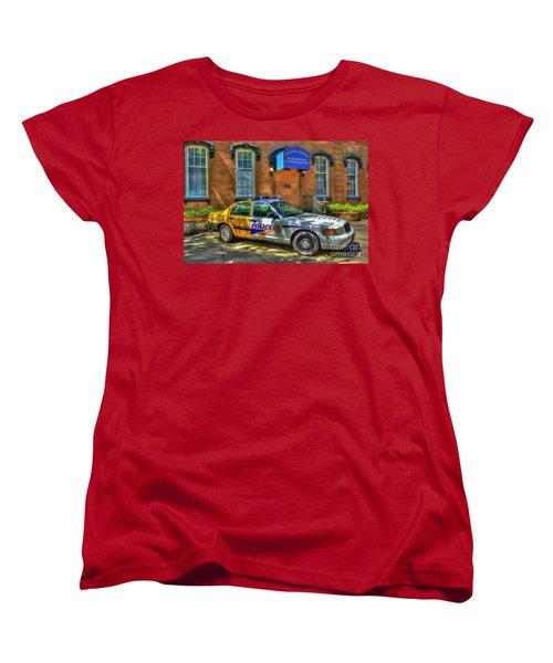 Women's T-Shirt (Standard Cut) featuring the photograph Half And Half What Is It Manna Savannah Georgia Police Art by Reid Callaway