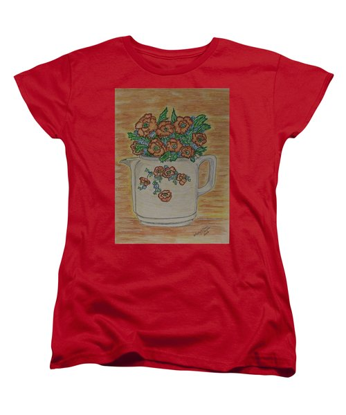 Hall China Orange Poppy And Poppies Women's T-Shirt (Standard Cut) by Kathy Marrs Chandler