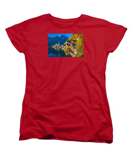 Hallstatt In Fall Women's T-Shirt (Standard Cut) by JR Photography