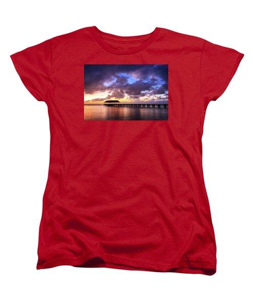 Hanalei Pier Women's T-Shirt (Standard Cut) by James Eddy
