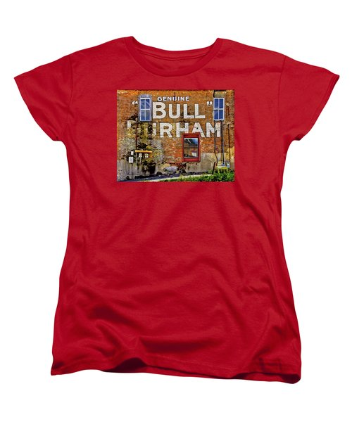 Women's T-Shirt (Standard Cut) featuring the photograph Handpainted Sign On Brick Wall by David and Carol Kelly