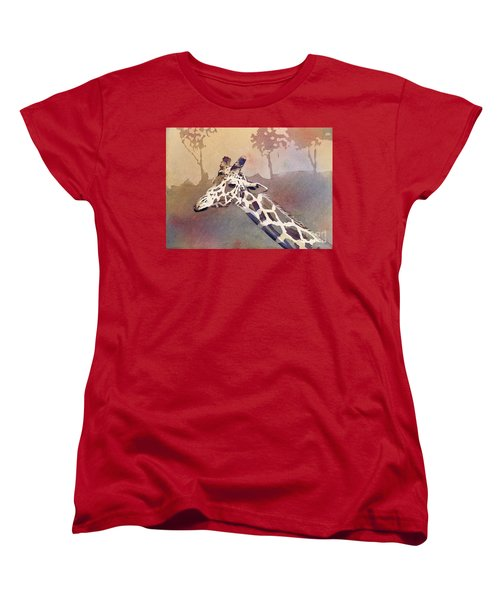 Women's T-Shirt (Standard Cut) featuring the painting Hanging Out- Giraffe by Ryan Fox