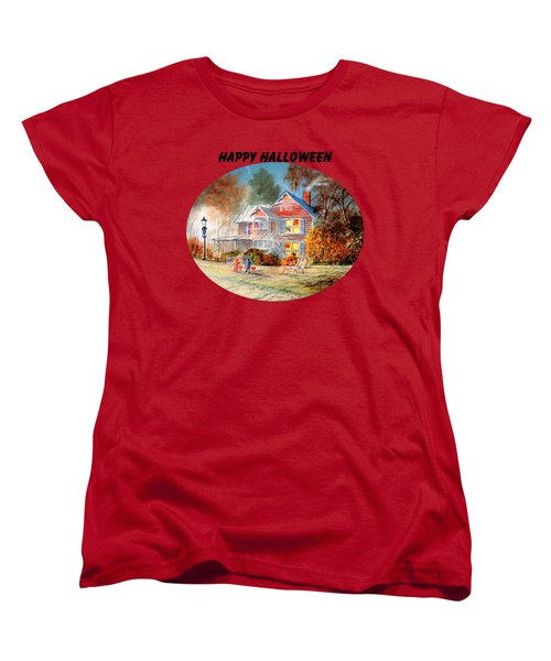 Women's T-Shirt (Standard Cut) featuring the painting Happy Halloween by Bill Holkham