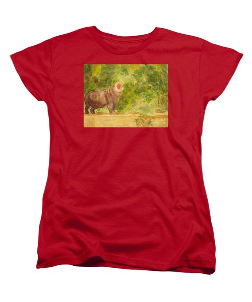Women's T-Shirt (Standard Cut) featuring the painting Happy Hippo by Vicki  Housel