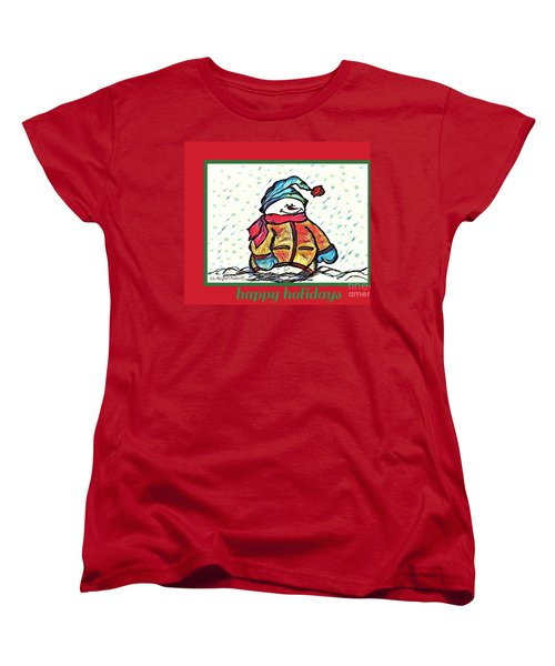 Happy Holidays Snowman Women's T-Shirt (Standard Cut) by MaryLee Parker