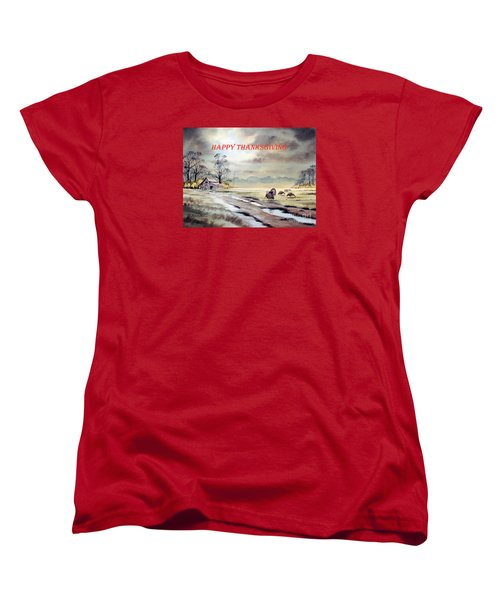 Women's T-Shirt (Standard Cut) featuring the painting Happy Thanksgiving  by Bill Holkham