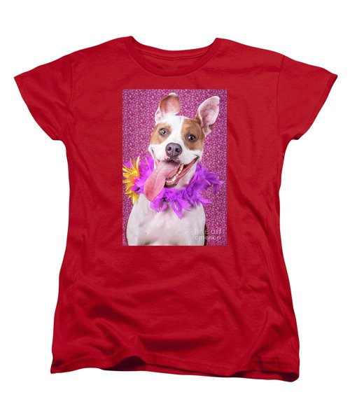 Hapy Dog Women's T-Shirt (Standard Cut) by Stephanie Hayes
