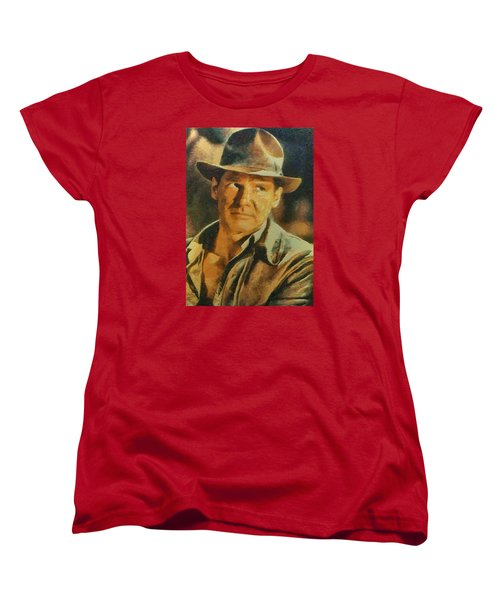 Women's T-Shirt (Standard Cut) featuring the digital art Harrison Ford As Indiana Jones by Charmaine Zoe