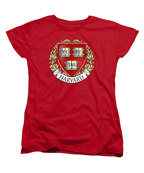 Harvard University Seal - Coat Of Arms Over Colours Women's T-Shirt (Standard Cut) by Serge Averbukh