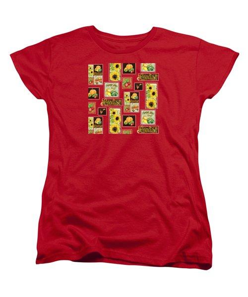 Harvest Market Pumpkins Sunflowers N Red Wagon Women's T-Shirt (Standard Cut)