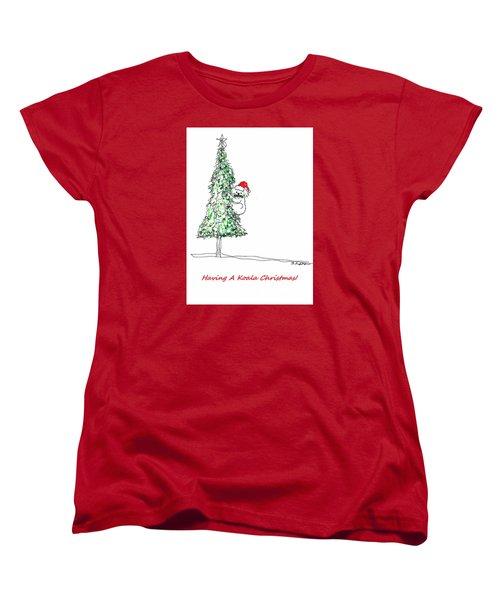 Having A Koala Christmas Women's T-Shirt (Standard Cut) by Denise Fulmer