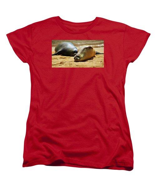 Women's T-Shirt (Standard Cut) featuring the photograph Hawaiian Monk Seals by Craig Wood