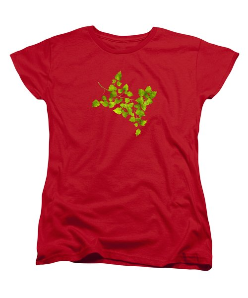 Hawthorn Pressed Leaf Art Women's T-Shirt (Standard Cut) by Christina Rollo