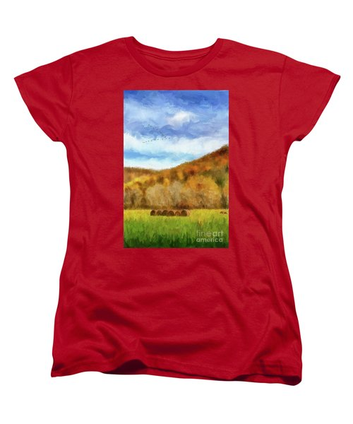 Women's T-Shirt (Standard Cut) featuring the photograph Hay Bales by Lois Bryan
