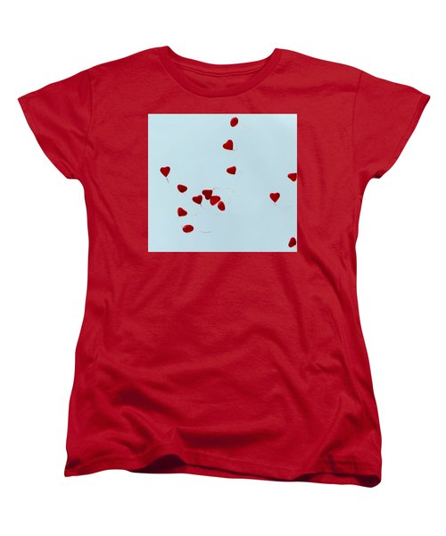 Heart Balloons In The Sky Women's T-Shirt (Standard Cut) by Valerie Ornstein