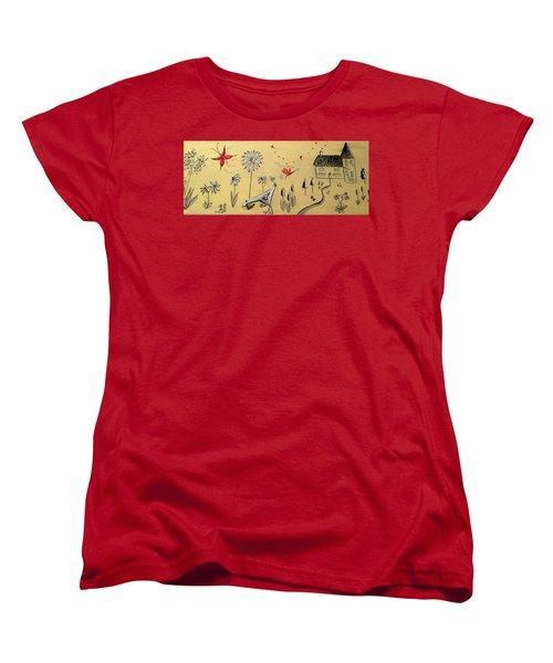 Heart Cottage Red 2 Women's T-Shirt (Standard Cut) by Kathy Spall