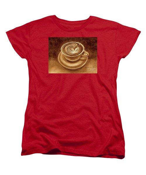 Women's T-Shirt (Standard Cut) featuring the painting Heart Latte by Hailey E Herrera