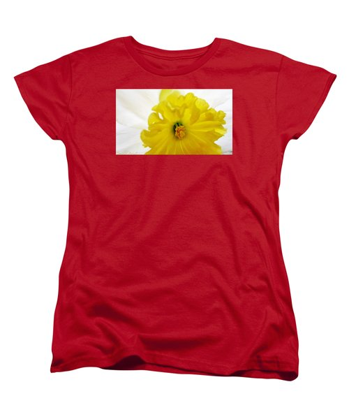 Women's T-Shirt (Standard Cut) featuring the painting Heart Of A Daffodil  by Danielle  Parent