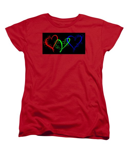 Hearts On Black Women's T-Shirt (Standard Cut) by Swank Photography
