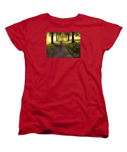 Serenity - Walk With Black Labrador Women's T-Shirt (Standard Cut)