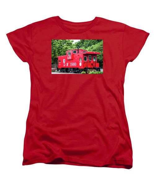 Women's T-Shirt (Standard Cut) featuring the photograph Helena Red Caboose by Parker Cunningham