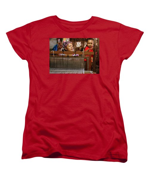Women's T-Shirt (Standard Cut) featuring the photograph Helping Mom With The Weaving by Laurel Talabere