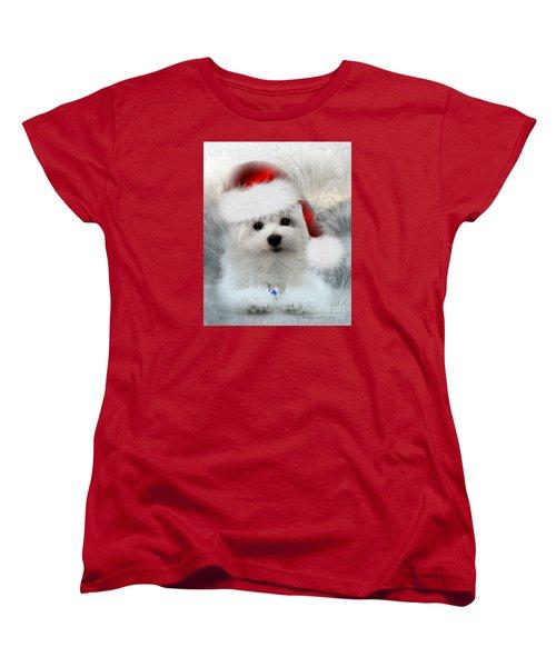 Hermes The Maltese At Christmas Women's T-Shirt (Standard Cut) by Morag Bates