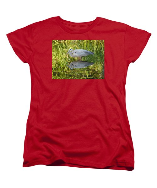 Heron's Reflection Women's T-Shirt (Standard Cut) by Jane Ford