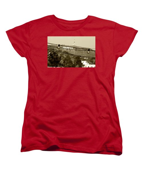 Women's T-Shirt (Standard Cut) featuring the photograph Hollywood Sign On The Hill 4 by Micah May