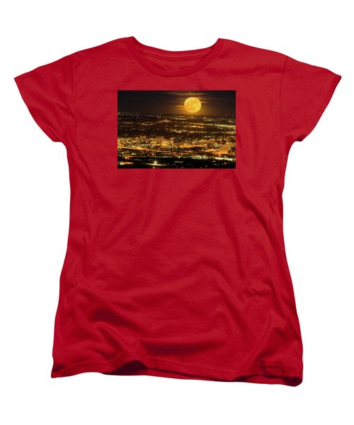 Home Sweet Hometown Bathed In The Glow Of The Super Moon  Women's T-Shirt (Standard Cut) by Bijan Pirnia